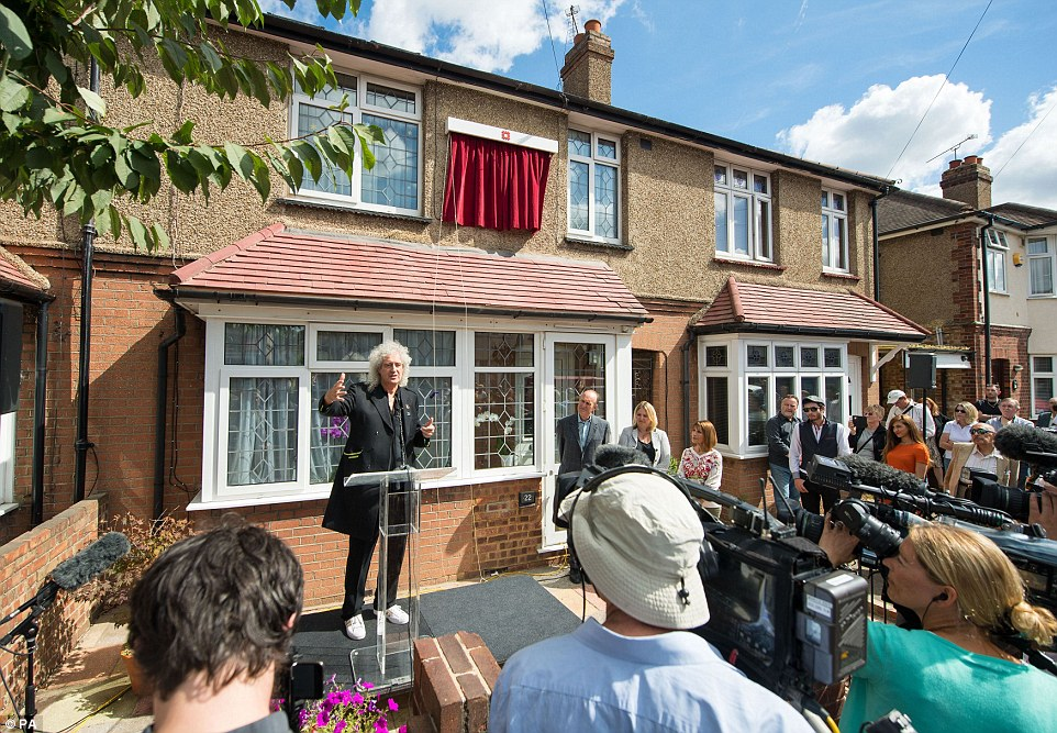 Queen Bandmate Brian May Unveils Blue Plaque At Freddie