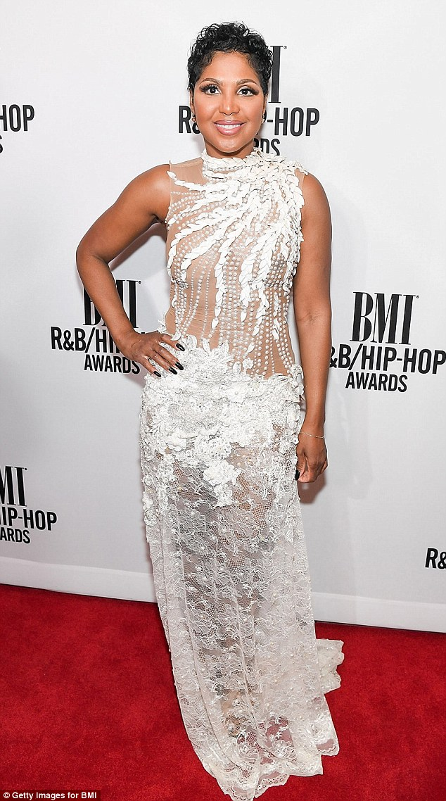 Toni Braxton Wows In Sheer White Gown As Shes Honored At