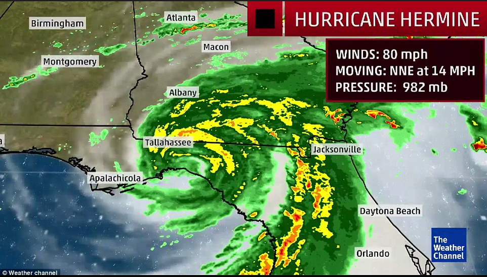The 'life-threatening' hurricane - Florida's first for 11 years - made landfall shortly after 1.30am as it careered past St Marks, south east of Tallahassee