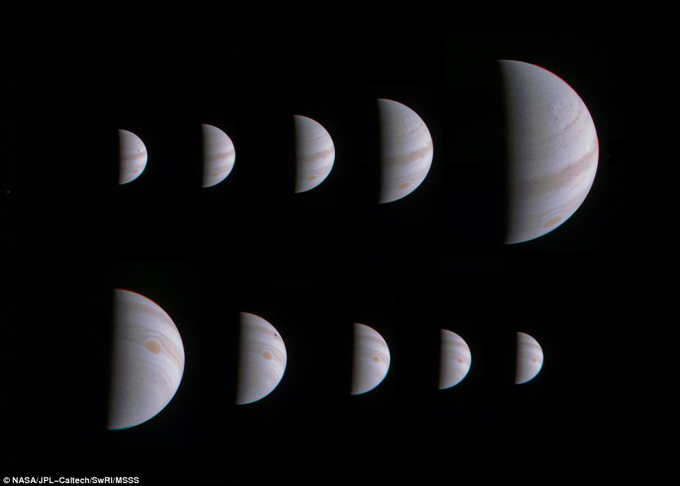 This montage of 10 JunoCam images shows Jupiter growing and shrinking in apparent size before and after NASA's Juno spacecraft made its closest approach on August 27, 2016, at 12:50 UTC.   The images are spaced about 10 hours apart, one Jupiter day, so the Great Red Spot is always in roughly the same place. The small black spots visible on the planet in some of the images are shadows of the large Galilean moons.