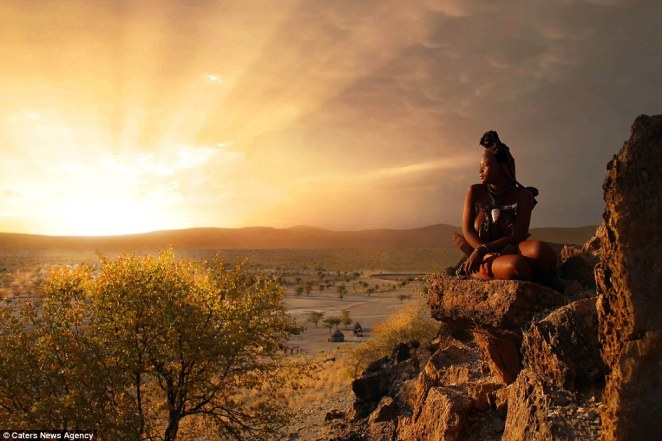 A member of the Himba tribe against the stunning Namibian backdrop, taken by documentary maker Bjorn Persson