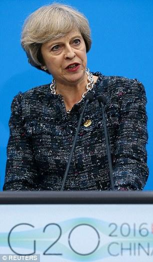 postura firme: el primer ministro, Theresa May, en la foto en la clausura de la cumbre del G-20 en Hangzhou, China, el lunes