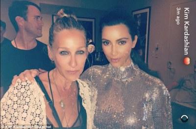 Famous friends: Sarah Jessica Parker struck a pose next to Kim