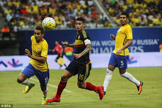 Colombia captain Rodriguez was in the thick of the action but couldn't prevent his team's loss