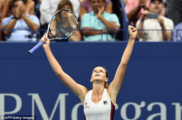 Pliskova reacts with joy after managing to overcome the American over two sets
