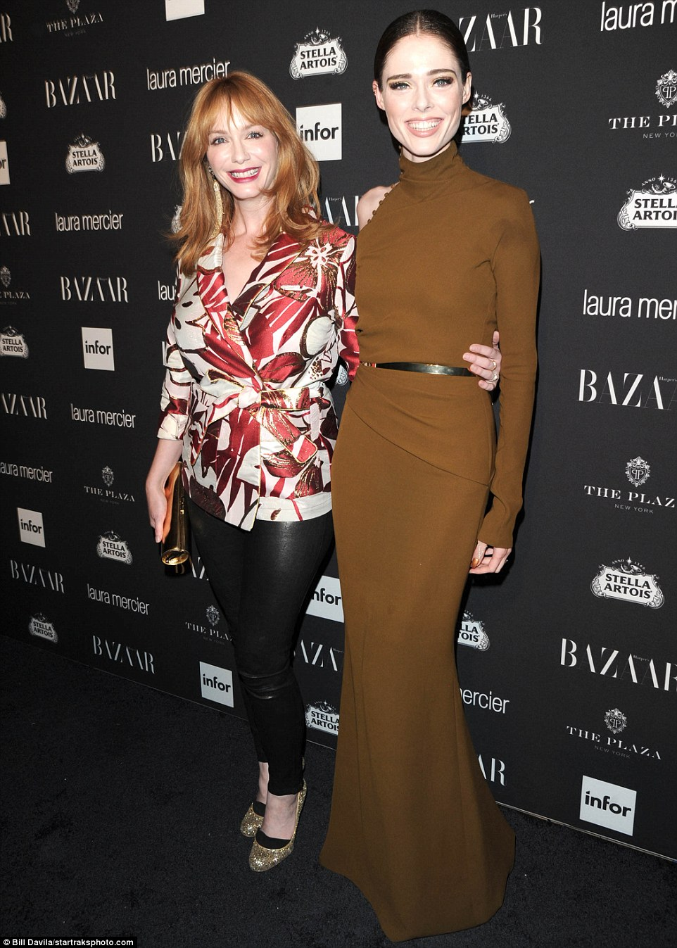 All smiles! Coco and Christina Hendricks looked happy to see each other as they hit the black carpet