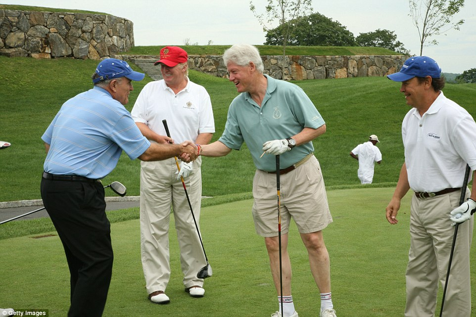 A 2008 photograph shows Trump (second from left) and Clinton (second from right) posing for a picture during a round of gold at Briarcliff Manor in New York