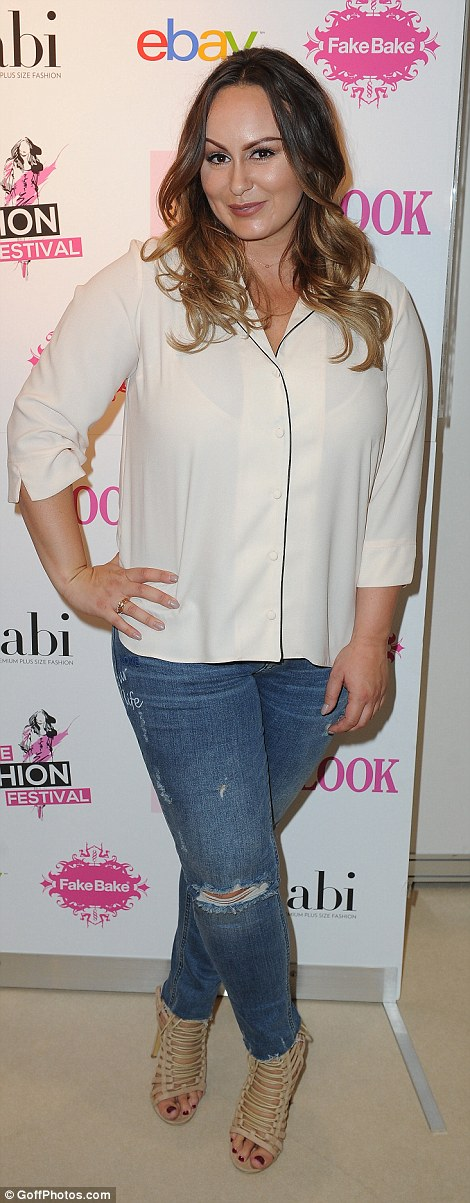 Show of support: Reality star Chanelle Hayes turned up in casual ripped jeans and a pyjama style blouse