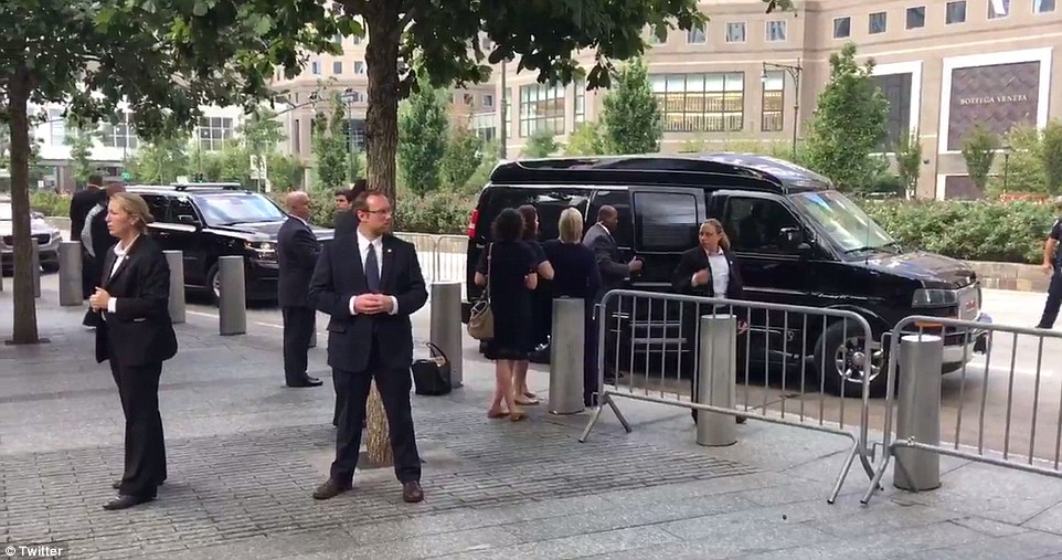 Video has surfaced of Hillary Clinton appearing to stumble as she was led into a van after suffering a 'medical episode' during the 9/11 memorial service