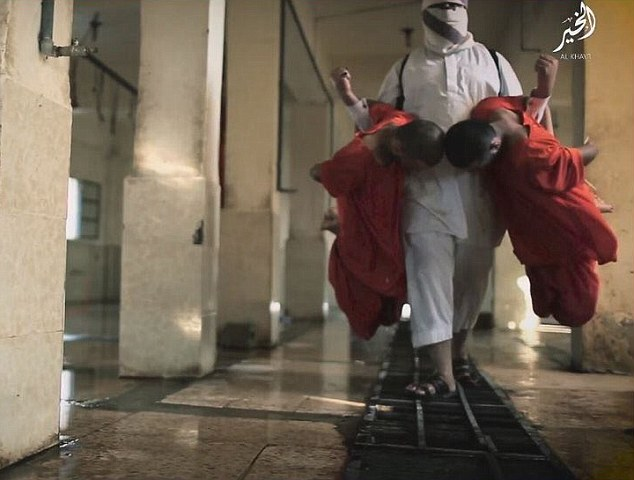 At one point in the film, an executioner wearing a white outfit carries one prisoner on each arm before slitting their throats over a metal grate where the blood of slaughtered animals would usually drain away