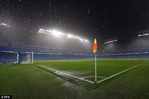 The Etihad Stadium was hit by heavy rainfall before Manchester City's game was postponed
