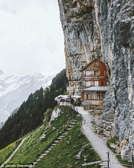 Above, Berggasthaus Aescher-Wildkirchli, a restaurant tucked into the cliffs