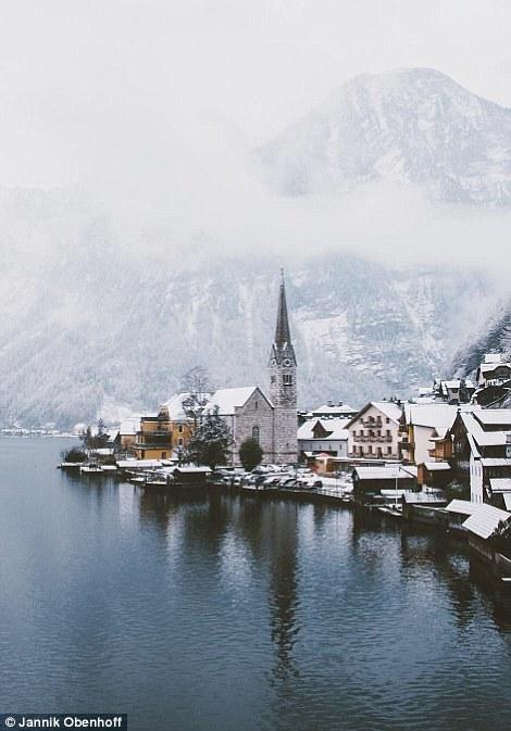Hallstatt in Austria in the winter