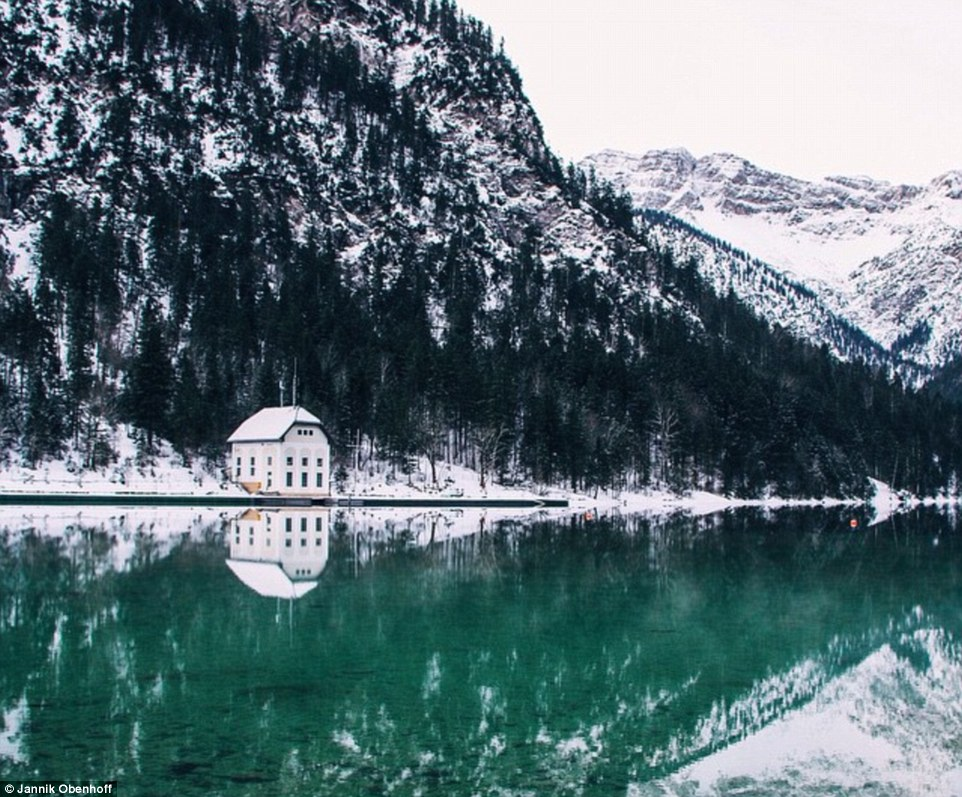 Many of his images shared on Instagram give no locations. Above, a lake-side property that Obenhoff called his 'dreamhouse'