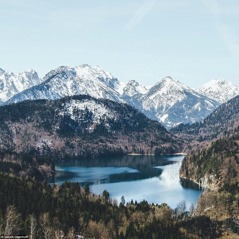 Almost all of his photographs feature mountains or lakes. Above, the picturesque landscape nearHohenschwangau Castle