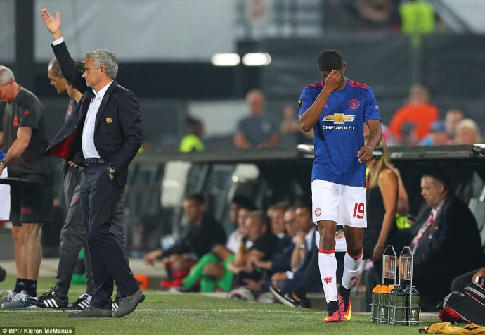 Marcus Rashford trudges off after failing to impress in his first competitive start under Mourinho at United