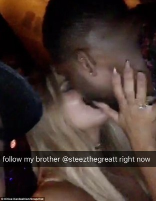 Publicity machine: The pair were drumming up some attention for a pal, by posting his snapchat name as they kissed