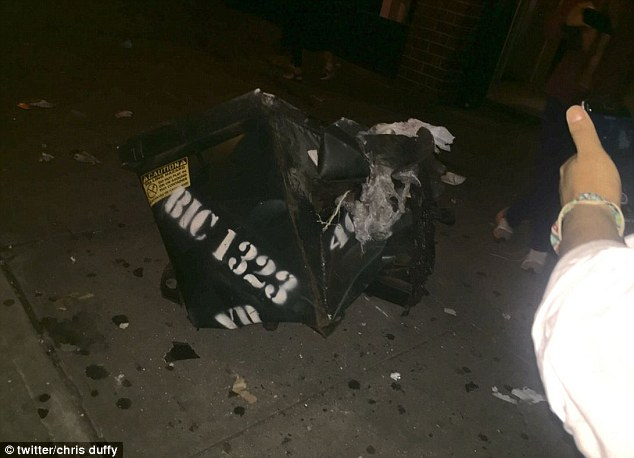 Witness Chris Duffy tweeted a photo of a destroyed dumpster and said it was the source of the blast