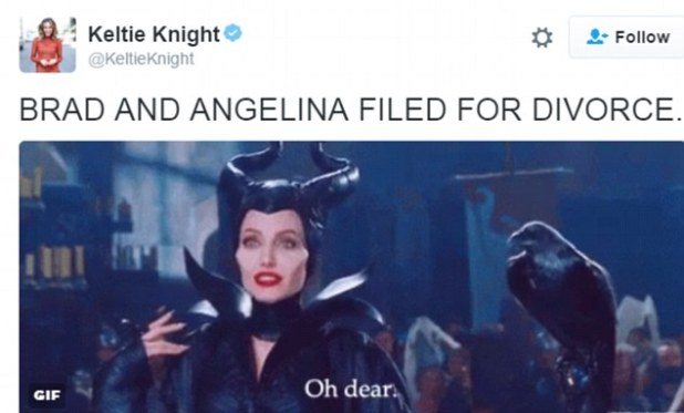 Presenter Keltie Knight shared a shot of Angelina in her film, Maleficent