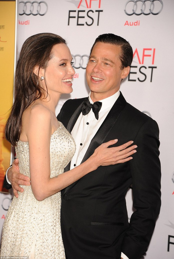Done:Angelina Jolie has filed for divorce from Brad Pitt (couple above in November 2015 at their last public appearance together)