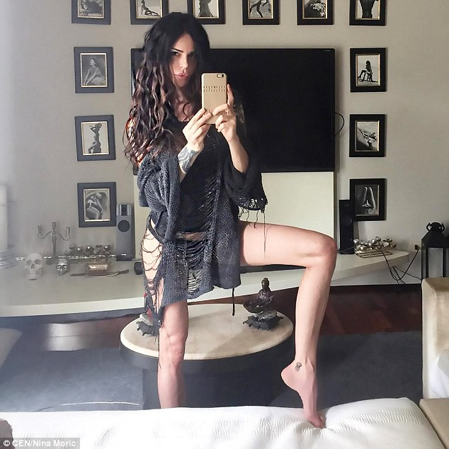 Torrente's most vocal critic,Croatian model Nina Moric, has apologised for saying she had 'too much flesh' to be on stage with skinny contestants (pictured, Moric posing on Instagram)