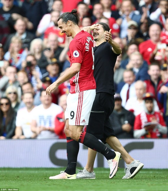 Bizarrely, Zlatan Ibrahimovic was confronted by a lookalike pitch invader during the first-half, though he saw the funny side
