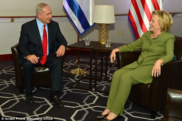 Clinton (pictured during Netanyahu's visit on Sunday) pledged to implement the Iran nuclear deal, which Netanyahu opposed vehemently in 2015