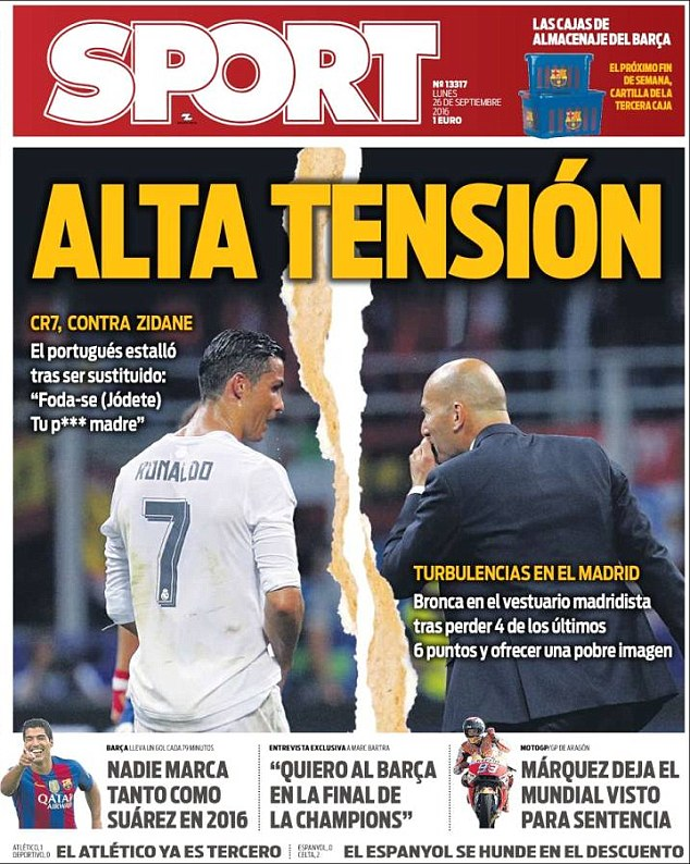Ronaldo has dominated the press in the last few days with talk of a divide with his manager