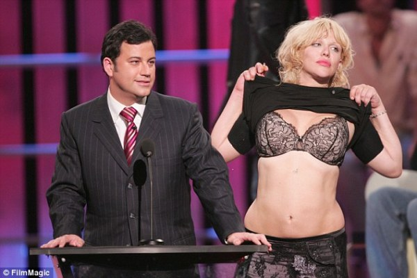 Courtney Love poses with friend Pamela Anderson after West ...