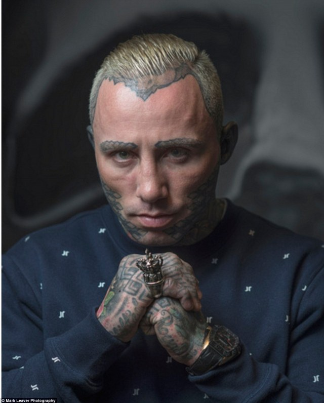 Jay Read (pictured), a 'body modification specialist', founded the global clothing brand, Jilted Royalty.Jay says he became addicted to tattoos after kicking a heroin addiction in his 20s