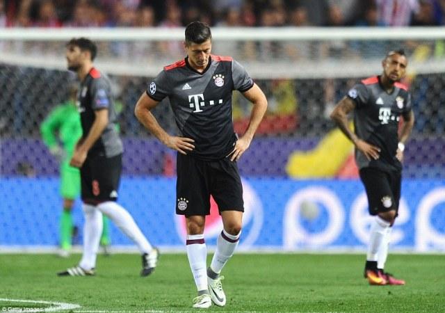 Bayern Munich striker Robert Lewandowski cut a figure of disappointment as Carlo Ancelotti's side fell behind