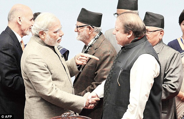 India's Prime Minister Narenda Modi (left) and Pakistan's Prime Minister Nawaz Sharif (right) are seen meeting in 2014 but since then tensions have grown markedly