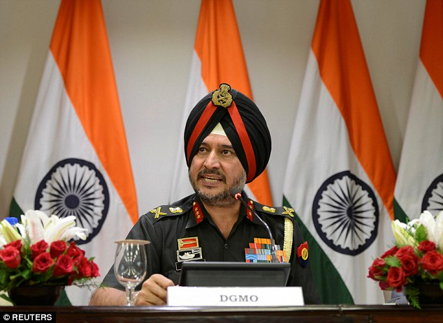 The Indian army's director general of military operations, Lieutenant General Ranbir Singh (pictured) told the media today it had targeted 'terrorist launchpads' in Kashmir