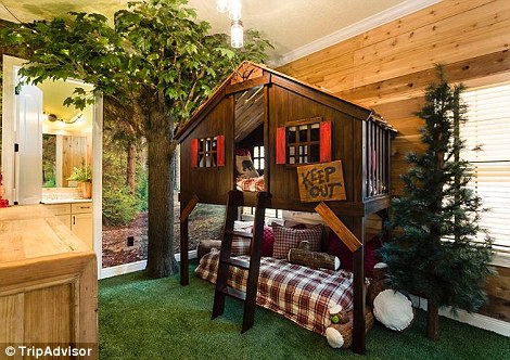 Other bedrooms include one with an inside treehouse
