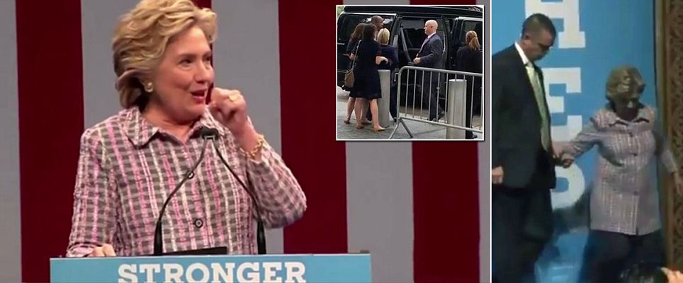 Hillary Clinton chokes up at rally minutes before she's aided down set of stairs
