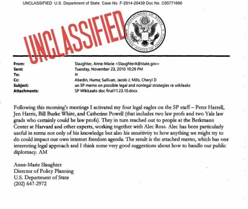 A new report claims that Clinton once proposed a military drone strike to take out Assange in a bid to silence WikiLeaks. Above, one of Clinton's aides sent an email with the subject line'an SP memo on possible legal and nonlegal strategies re Wikileaks'