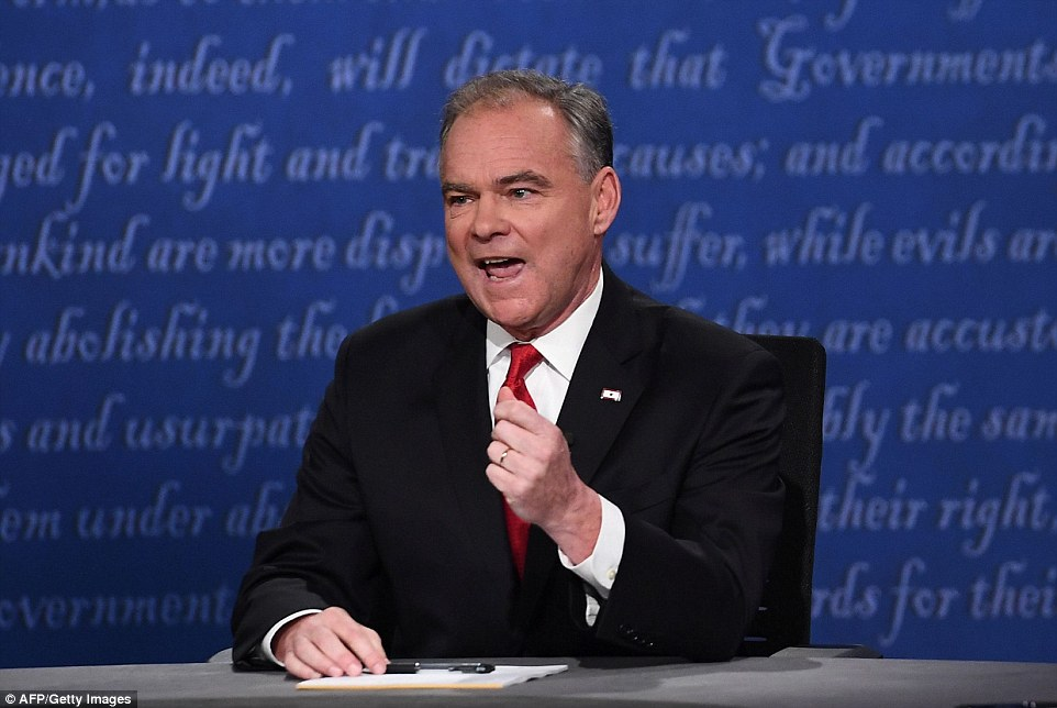 Kaine at one point inferred that Trump was a 'fool' and a 'maniac' who could 'trigger some catastrophic event'