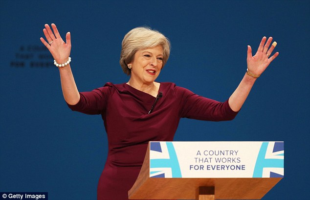 British PM Theresa May at the Conservative Party Conference