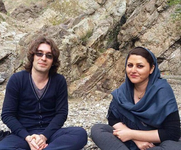 Her husband Arash Sadeghi (left) was also arrested and is now serving a 15-year prison sentence in Evin Prison on charges including 'spreading propaganda against the system'
