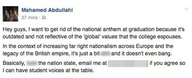 In an expletive-laden Facebook post, Mr Abdullahi wrote: 'I want to get rid of the national anthem at graduation because it's outdated and not reflective of the