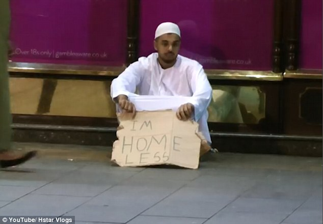 Youtuber Hassan Saleemi  (pictured) pretended to be homeless on the streets of London while wearing traditional dress  to get the reactions of people passing