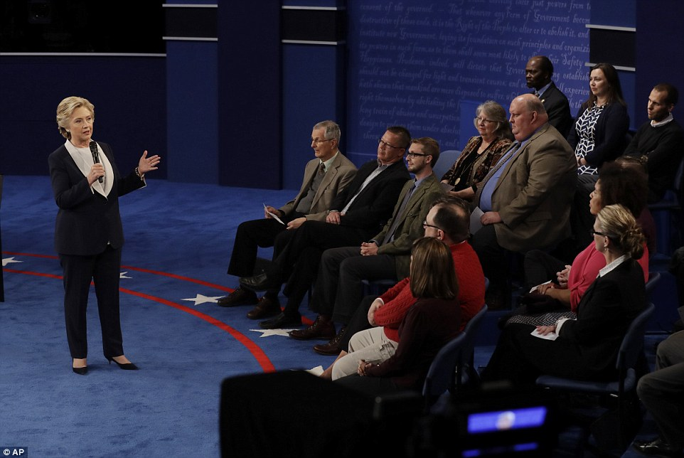The first question of the debate was expected to focus on lewd remarks revealed Friday in an 11-year-old audiotape of Trump. But it was milder, asking Clinton about the overall tone of the 2016 campaigns. Clinton responded first