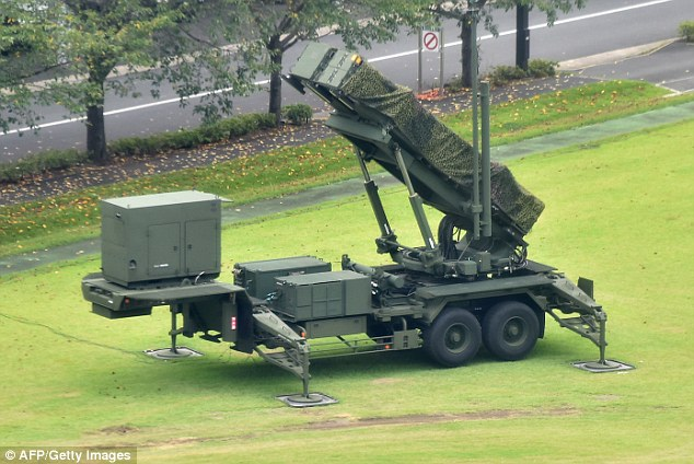 A ground deployment type ground-to-air guided missiles PAC3 is seen in position at the Defence Ministry in Tokyo on September 12, 2016 in preparation of a ballistic missile launch by North Korea