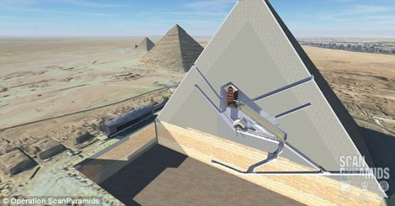 A 3D cutaway view of the Great Pyramid of Giza revealing its interior chambers. Experts confirmed the existence of the mysterious cavities on Saturday after scanning the millennia-old monument with radiography equipment