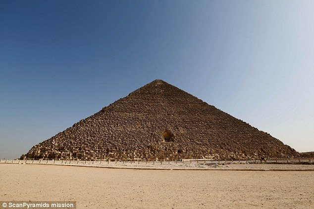 The north face of the Khufu pyramid which was 4,500 years ago. Two previously undiscovered cavities have been detected inside the structure