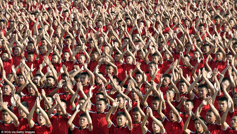 Now that's a crowd! Thousands of martial arts students took part in the exercise in China's Henan province
