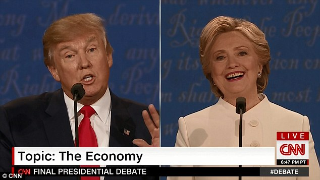 The Democratic candidate beamed as she listened to Donald Trump slam her political record and campaign policies