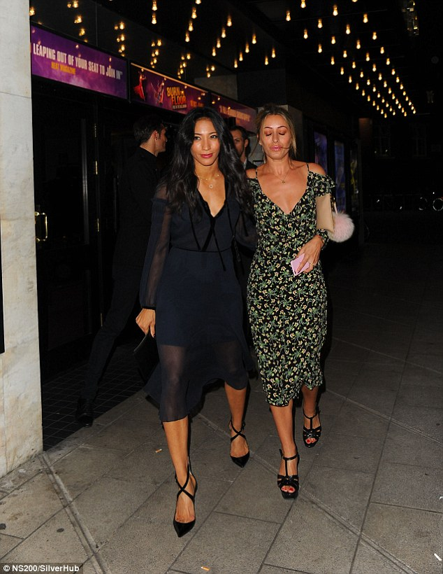 Girls' night out: Karen enjoyed the show with  pals, withfellow Strictly pros Aljaz Skorjanec and Giovanni Pernice and their partners Daisy Lowe and Laura Whitmore also in the audience