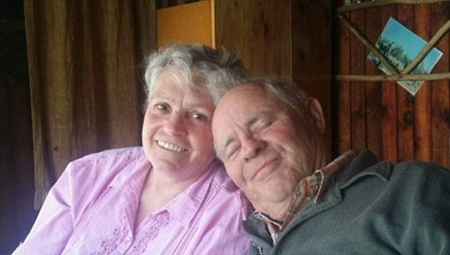 Joey Groenewald, grandmother-of-13, will visit Eden for the first time this week and will be the first of what she hopes will be many family members to set up home among 'people who share our culture and beliefs'. Pictured: With her fiancé, Eberhard Oelmann