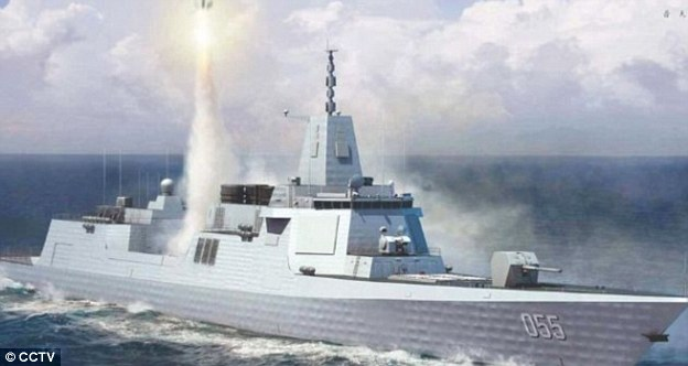 Now, leaked images give a glimpse of the battle ship's progress, which reveals four portals on the stern for sensors and weapons and up to 128 vertical launch system cells for missiles (pictured is an artist impression of Type 005)
